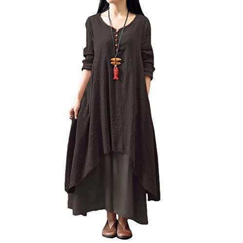 Ann Taylor Kleider (XIGUAK Frauen Lose Maxi Dress üBergroßEn Baumwolle Robe Sommer BöHmischen Zweiteilige Langarm UnregelmäßIge Hemd Dress)