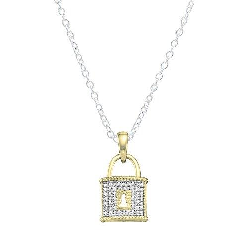 0,15Karat (ctw), 14K Gelbgold Diamant Rund Damen Schloss Anhänger (Silber Kette enthalten)
