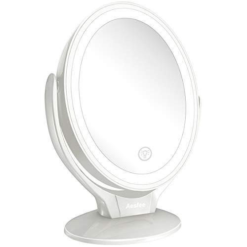 Aesfee Espejo de Maquillaje con Aumento de 1x / 7X, Espejo Maquillaje de Doble Cara con Iluminación...