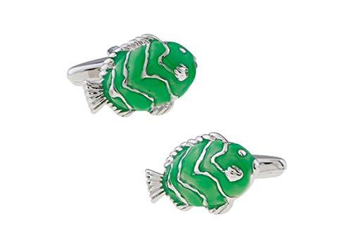 AYDOME Manschettenknöpfe Elegant Fisch Manschettenknöpfe Vintage Manschettenknöpfe für Herren Silber Grüne Manschettenknöpfe