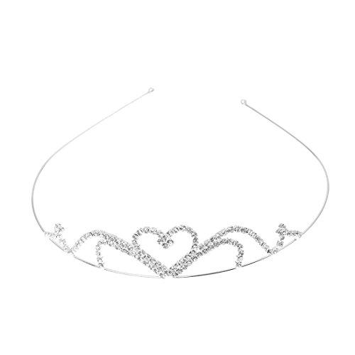 SODIAL (R) tiara de la boda para la novia, nina de las flores y dama de honor de la corona en forma de corazon diadema