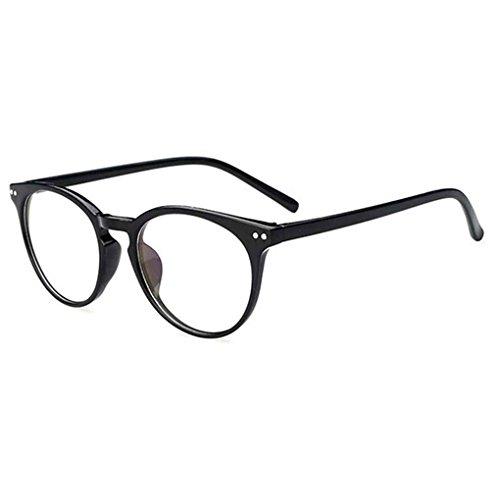 Vkospy Unisex Retro runde freie Objektiv-Glas-Brillen Frauen Männer UV400 Schutz Plain Brillen Brillen