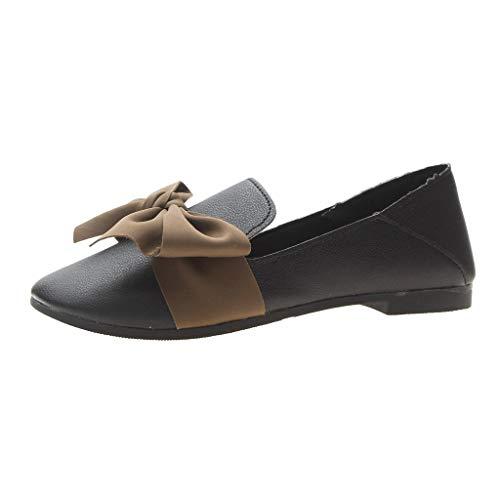 CUTUDE Damen Beugen Weiche Schuhe Mokassins Atmungsaktiv Leder Bootsschuhe FreizeitErbsen Schuhe Arbeitsschuhe Shallow Egg Roll Beach Schuhe (Schwarz, 39 EU) - Asos Roll