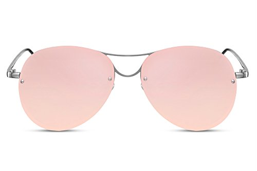 Cheapass Flieger-Sonnenbrille Rosé-Gold Verspiegelt UV-400 Piloten-Brille Groß Rund Metall Frauen Damen - Rose Gold Mirror
