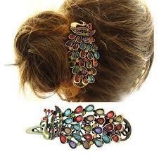 Boolavard  tm lady donne ragazze elegante pizzo elastico per capelli fascia del cerchio accessorio fasce tie fasce turbante (peacock hairpin)