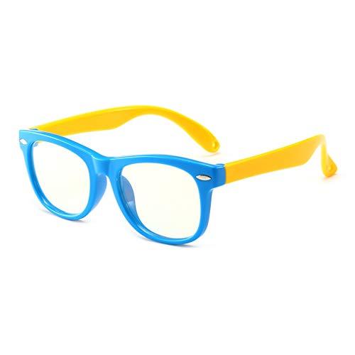 (Junkai Mädchen Jungen Brillen - Silikon Rahmen Anti Blau Licht Clear Lens Gläser Rahmen für Computer/PC Spiel/TV / Handy Lesen Brillen - ka18083002)