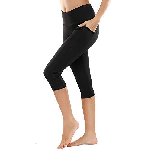 b68f1023eb1be8 SIMIYA Womens Sports Leggings High Waist Fitness Capris Running Tights with  Pockets 3/4 Length