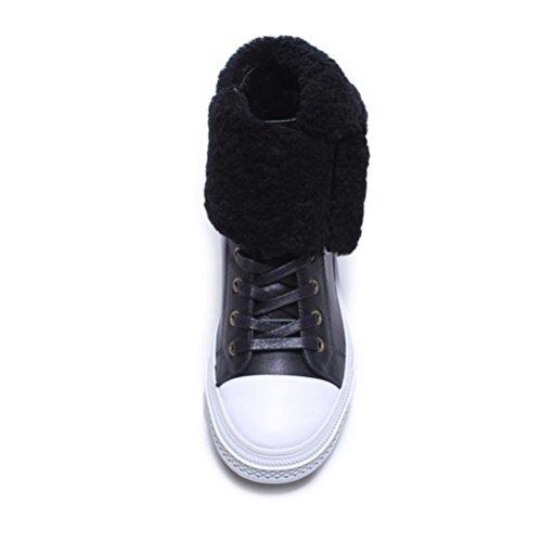 QPYC Signore per il tempo libero Scarpe da donna Stivali da locomotiva Stivali da motociclista Primo strato di fondo spesso in cuoio Tenere caldi stivali di cotone Cashmere Blended Short Boots Cravatt black