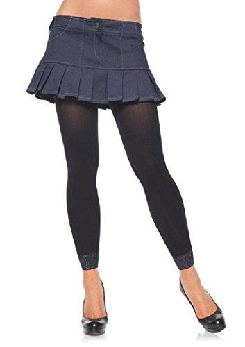 Leg Avenue Damen Legging mit Spitzenrand blickdicht schwarz Einheitsgröße ca. 38 bis 40 (Blickdicht Catsuit)