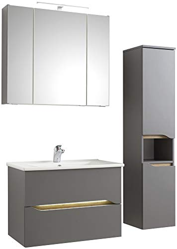 Pelipal - Capri 14 - Badmöbel-Set - 75 cm - Badset, 4-teilig mit Spiegelschrank, Keramik-Waschtisch usw. in Quarzgrau matt/Riviera Eiche, Grifflos, Komplettset, EEK: A (Spektrum A - A)