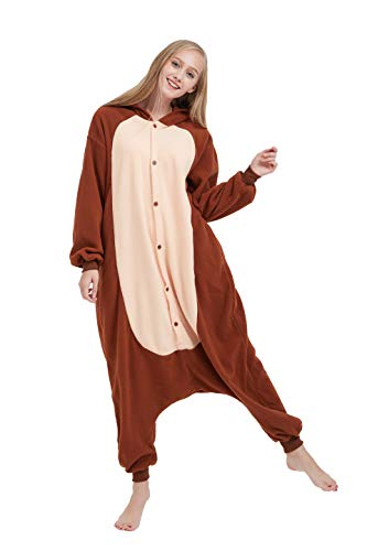 Fandecie Tier Kostüm Tierkostüm Tier Schlafanzug AFFE Pyjamas Jumpsuit Kigurumi Damen Herren Erwachsene Cosplay Tier Fasching Karneval Halloween (Braun AFFE, M:Höhe 160-169cm)