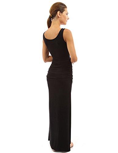 PattyBoutik femmes robe longue d'été sans manches Noir