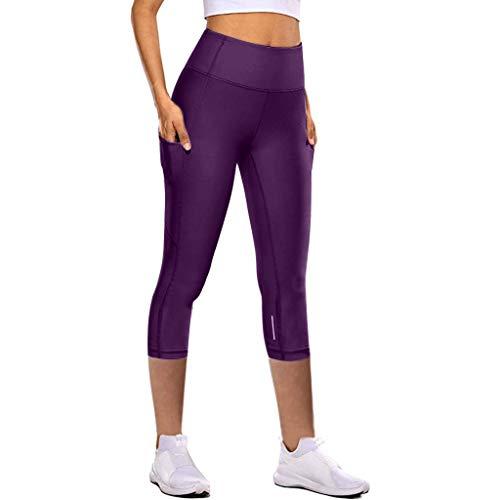 Strungten Sporthose Damen Sport Leggings 3/4 Yoga Capri Leggings Hohe Taille Yogahose Laufhose Fitnesshose Jogginghose Training Sport Tights mit Handytasche Workout Fitness High Wasit Active Sporthose