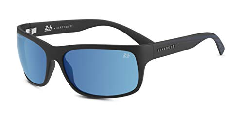 Black Satin (Serengeti Eyewear Erwachsene Pistoia Sonnenbrille, Satin Black/Dark Blue, Large)