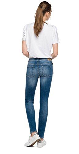 Replay Damen Skinny Jeans Luz Coin Zip Blau (Denim 9)