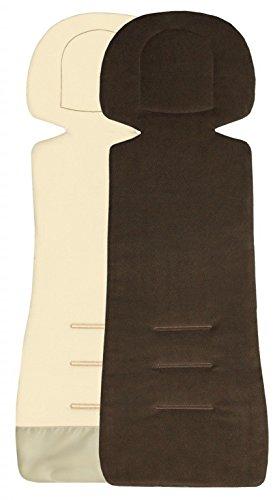 Preisvergleich Produktbild ByBoom - Sitzauflage / Sitzeinlage COMFORT mit Sommer- und Winterseite, Universal für Autokindersitz Gr. 0, 0+, I, II, III z.B. für Römer, Maxi-Cosi, für Kinderwagen und Buggy, Farbe:Braun/Beige