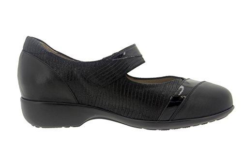 Scarpe donna comfort pelle Piesanto 7680 mary jean casual comfort larghezza speciale Negro