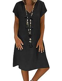 5967eebbf11 Yidarton Robe Été Femme de Plage Rétro Robes Col V Lin Robes au Genou Manches  Courte