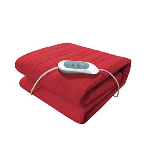 FUGUOGUO Niederspannungs-Heizdecken, Einzelbett Beheizte Wrap-Decke Waschbar 3-Gang-Temperatureinstellung Samt Plüsch Sicherheit Haushaltsgebrauch, sichere Komfort-Technologie,Red