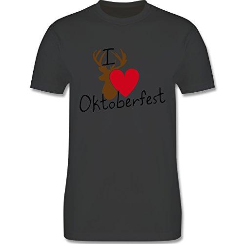Oktoberfest Herren - Oktoberfest Love Hirsch - Herren Premium T-Shirt Dunkelgrau