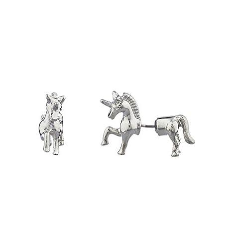 Lux Accessories Silvertone Unicorn Shape Animal Fake Gauge Front Back Earring
