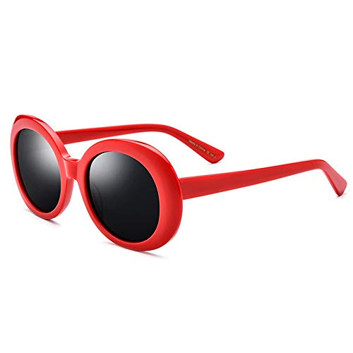 Yiph-Sunglass Sonnenbrillen Mode Unisex-Sonnenbrille Rapper Oval Shades Brille Retro Vintage Leichte UV-Schutz Augen Geschützter runder Rahmen (Farbe : Red Frame Black Film, Größe : Free)