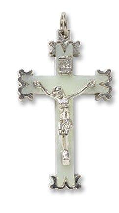 Herren Damen katholischen Geschenk Luminous Glow in the Dark 2geformte Zink Legierung Kruzifix Pectoral Anhänger