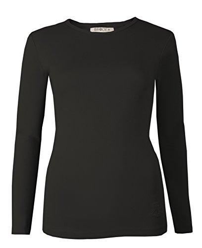 A maniche lunghe da donna Tops T-shirts tinta unita elasticizzato sci girocollo di Brody & Co cotone extra qualità Black Small