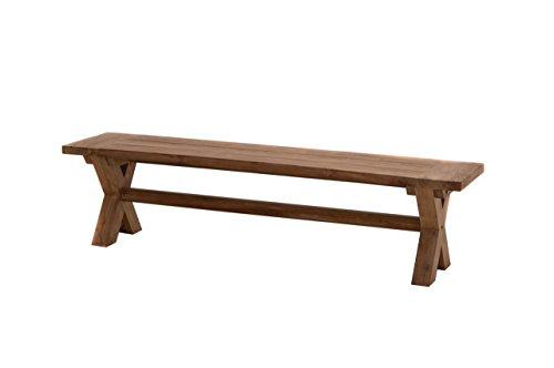 Rustique Banc de jardin en teck 180 cm/croisé/Très résistant aux intempéries/Qualité & résistant/croisé/banc en bois