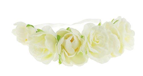 Mesdames Grand/festival/style bohème Rose en fleur frontal élastique Bandeaux Crème