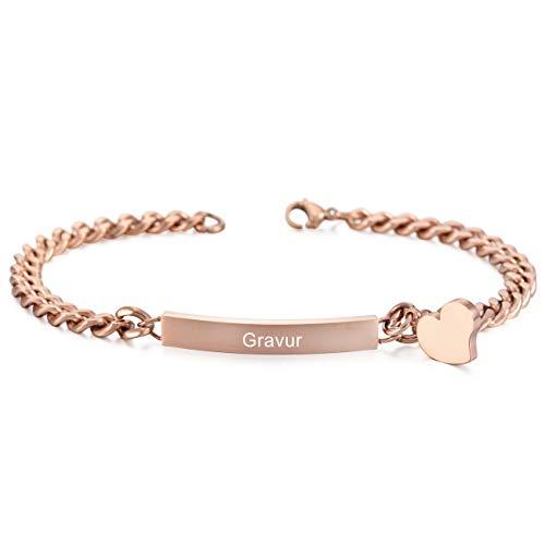 MeMeDIY Rosé Gold Ton Edelstahl Armband Link Herz Polished Gravur