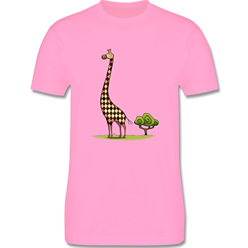 Wildnis - Lange Giraffe - Herren Premium T-Shirt Rosa