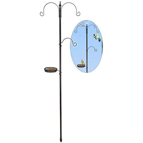 Preisvergleich Produktbild Meisenknödelhalter,  3 Haken,  1 Futterkorb,  ca. 190 cm hoch • Vogelfutterstation Vogel Futterständer Vogelfutterspender Meisenknödelhaus Deko