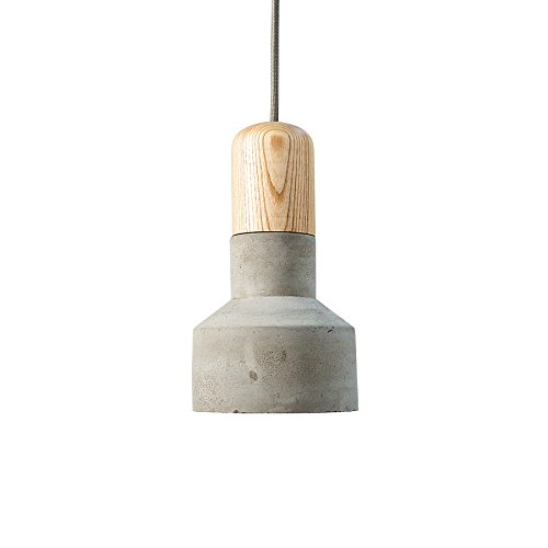 Moderne Hängeleuchte CEMENT FUSION grau Betonlampe mit Holz Textilkabel Pendelleuchte Beton Holz