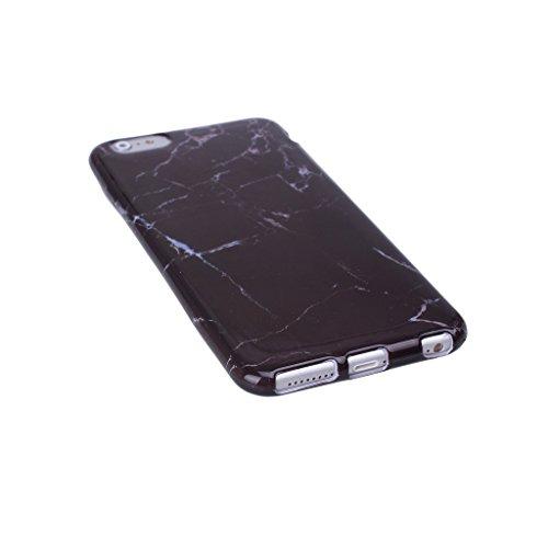 """Coque iPhone 7 Plus, IJIA Ultra-mince Motif Coréen Marbre Naturel Noir TPU Doux Silicone Bumper Case Cover Coque Housse Etui pour Apple iPhone 7 Plus (5.5"""") + 24K Or Autocollant color-HD12"""