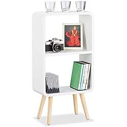 Relaxdays Étagère 2 compartiments bibliothèque bois MDF 4 pieds commode tablette table chevet, blanc
