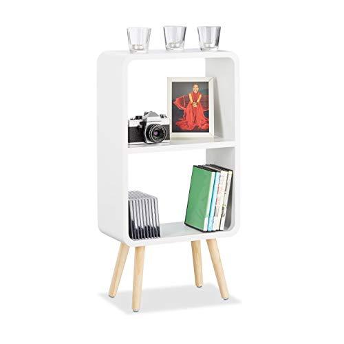 Relaxdays Standregal mit 2 Fächern, schmales MDF Bücherregal ohne Schubladen, Wohnzimmer Regal mit Holzbeinen, weiß