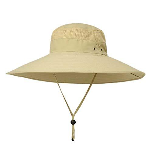 JOYOTER Freizeit Big Fishing Bucket Hat UV-Sonnenschutz Einstellbare Chin Drawstring Wandern Outdoor Cap für den Sommer