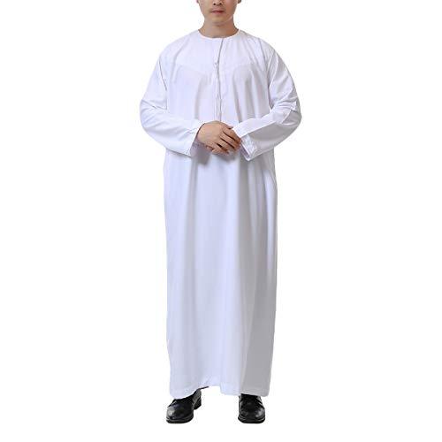Acqrobe Moslemische Kaftan Langarm Herren - Araber Thobe Dubai Mittlere Osten-Robe Islamisches Dishdasha Traditionelle Ethnische - Saudi Arabien Kostüm Männer