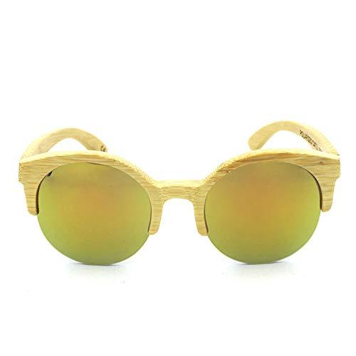 DelongKe Sonnenbrille Mit Halbrahmen,Funktion UV-Schutz UV400 Schutz Für Damen & Herren Autofahren Laufen Radfahren Angeln Golf,Gold