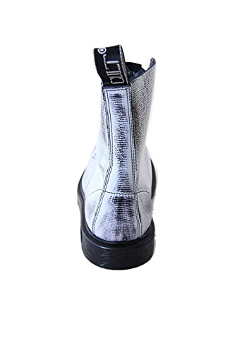 Cult Bolt Strike Vintage Leather Boots with Steel Toe Blue and White White
