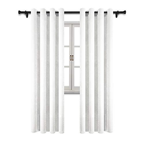 Wildleder Öse (SUO AI TEXTILE Wildleder Vorhänge für Schlafzimmer Verdunkelung Thermoisolierte Ösen Fenster Vorhänge Zwei Paneele (52 x 63 cm), Weiß, Polyester-Mischgewebe, weiß, 52x95 Inch)
