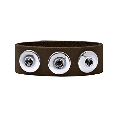 Quiges Damen 18mm Druckknopf Chunk Armband aus Leder Braun Mokka Verstellbar 18.5-20.5cm für Click Buttons