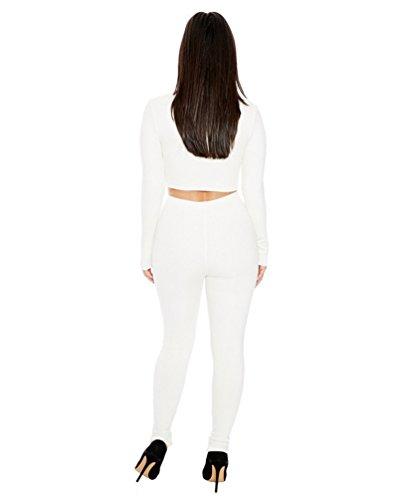 Yiiquan 2cps Femmes Survêtement Slim Fit Cou Rond Chemise + Pantalon Costume Multicolore Blanc