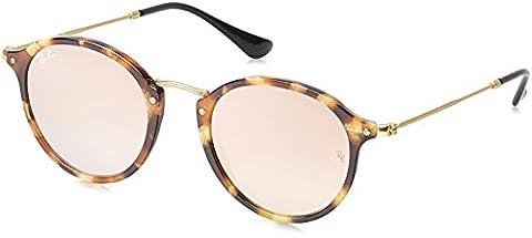 Ray Ban Herren Sonnenbrille Round Fleck Mehrfarbig (Gestell: Braun (Havana),Gläser: Kupferverlauf 11607O), Small (Herstellergröße: 49)
