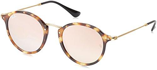 ray-ban-round-fleck-lunettes-de-soleil-mixte-multicolore-mehrfarbig-gestell-braun-havanaglser-kupfer