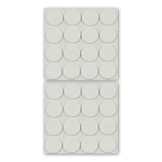 K.D.J. Brand Filzgleiter, Möbelgleiter, rund, weiß, 22 mm Ø, 3 mm dick, selbstklebend, hochwertiger Filz (Nadelfilz) - 32 Stück, für Stühle, Stuhlbeine, Tischbeine, Möbelbeine - Made in Germany
