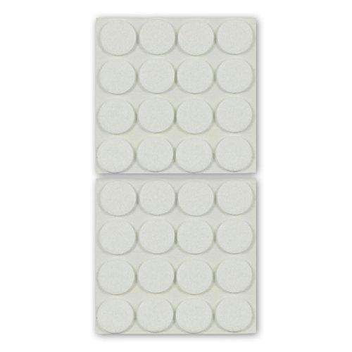 Patins en feutre pour meubles, rond, blanc, 22 mm Ø, épaisseur 3 mm, autoadhésifs autocollants, feutre premium haut de gamme (aiguilleté) - 32 pièces, pour pieds de chaises, tables, meubles - Fabriqué en Allemagne