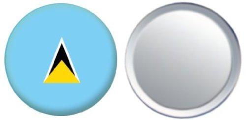 Miroir insigne de bouton Sainte-Lucie drapeau - 58mm