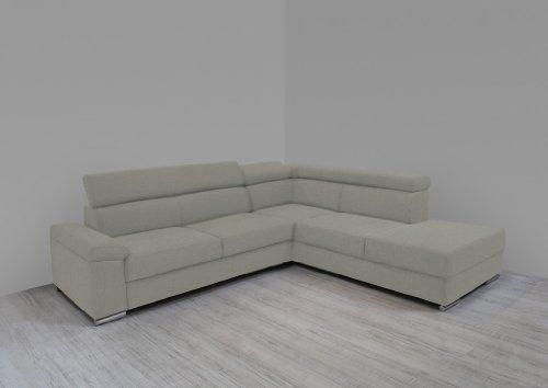 Dreams4Home Polsterecke Carlo Ecksofa Couch Sofa Wohnzimmer Polstergarnitur inkl. Rückenfunktion beige, Aufbauvariante:Longchair/Ottomane links